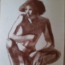 Arte: JOVEN DESNUDO EN CUCLILLAS. SANGUINA. 42X45CM. FIRMADO S.ESTRANY. Lote 258879710