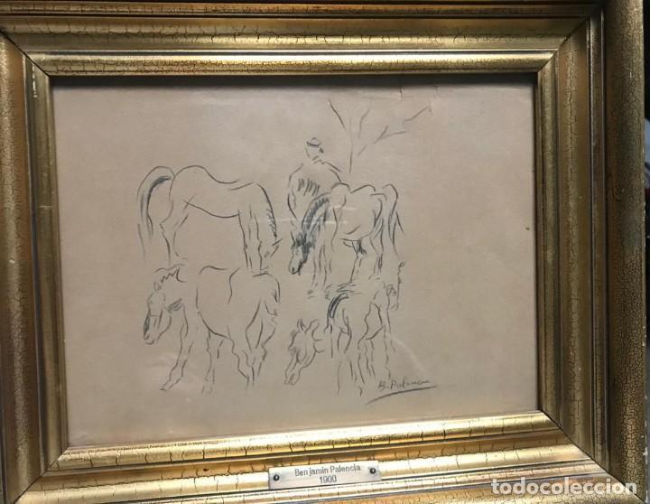 BENJAMÍN PALENCIA (ALBACETE, 1894 - MADRID, 1980). CABALLOS. DIBUJO A LÁPIZ SOBRE PAPEL. FIRMADO (Arte - Dibujos - Contemporáneos siglo XX)
