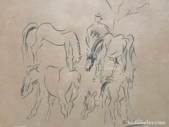 Arte: Benjamín Palencia (Albacete, 1894 - Madrid, 1980). Caballos. Dibujo a lápiz sobre papel. Firmado - Foto 2 - 259215285