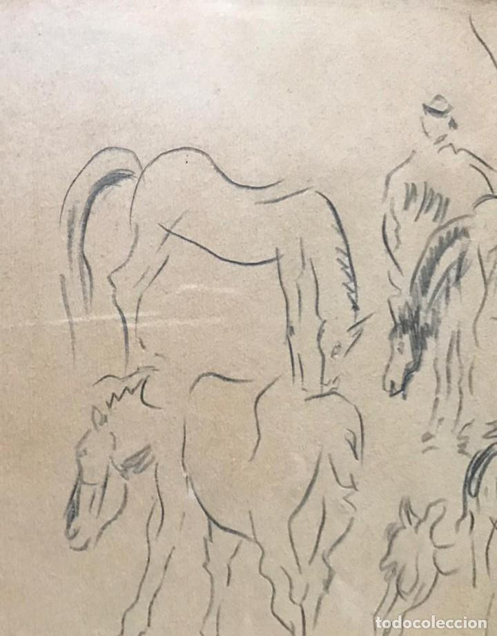 Arte: Benjamín Palencia (Albacete, 1894 - Madrid, 1980). Caballos. Dibujo a lápiz sobre papel. Firmado - Foto 3 - 259215285