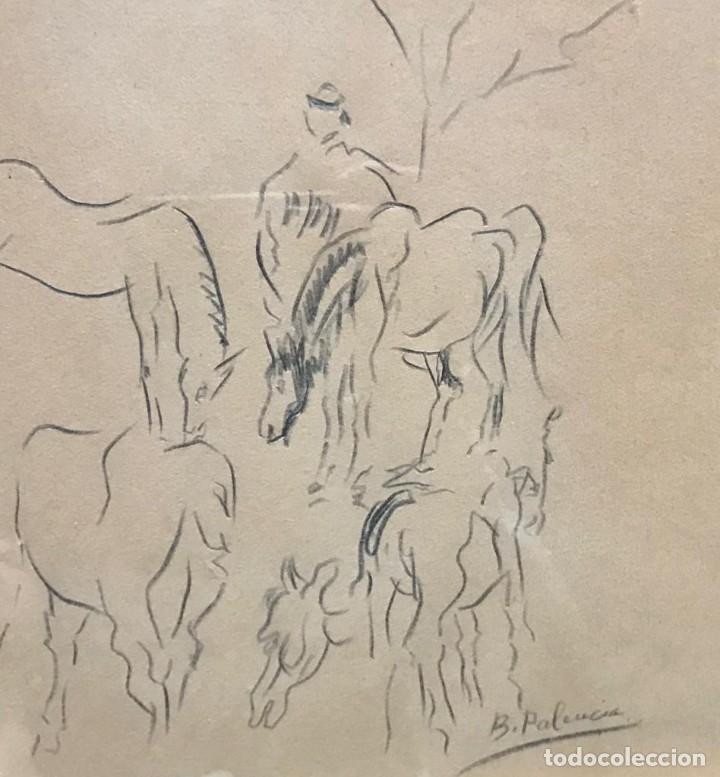 Arte: Benjamín Palencia (Albacete, 1894 - Madrid, 1980). Caballos. Dibujo a lápiz sobre papel. Firmado - Foto 4 - 259215285