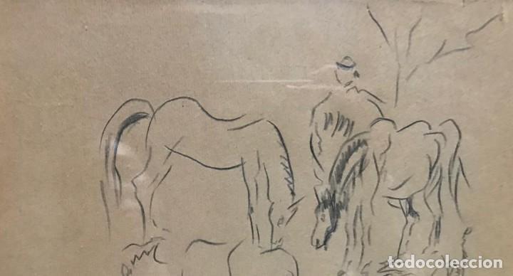 Arte: Benjamín Palencia (Albacete, 1894 - Madrid, 1980). Caballos. Dibujo a lápiz sobre papel. Firmado - Foto 5 - 259215285