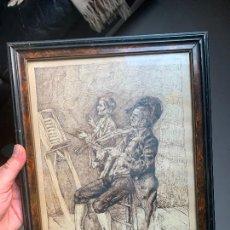 Arte: PLUMILLA SOBRE PAPEL FIRMA ILEGIBLE 1869 A ESTUDIAR. Lote 259319255