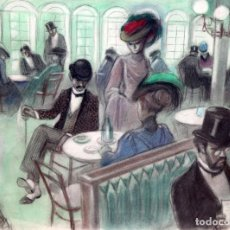 Arte: ALFREDO OPISSO CARDONA (BARCELONA, 1907- MATARÓ, 1980) DIBUJO A PASTEL. CAFE PARISINO. Lote 259754180