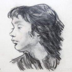 Arte: FRANCESC SERRA CASTELLET (1912 - 1976) DIBUJO A CARBON. RETRATO DE PERFIL FECHADO DEL AÑO 1951. Lote 260481705