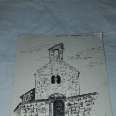Arte: BELLO DIBUJO A PLUMIN OLÉRDOLA IGLESIAS ESGLESÍA ROMÁNICA FIRMADO J. REVERTER AÑO 1940. Lote 260591110