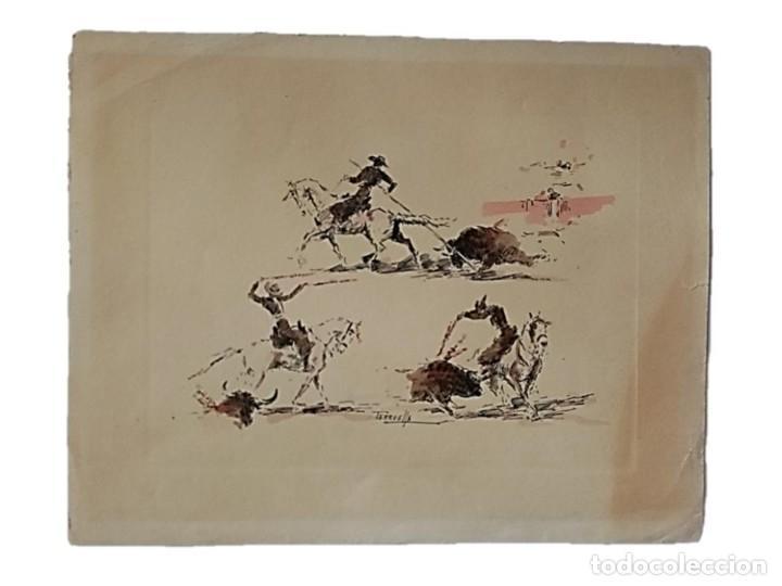 JOAQUIM TERRUELLA (1891/1957) - ESCENA DE TOROS - DIBUJO SOBRE PAPEL (Arte - Dibujos - Contemporáneos siglo XX)