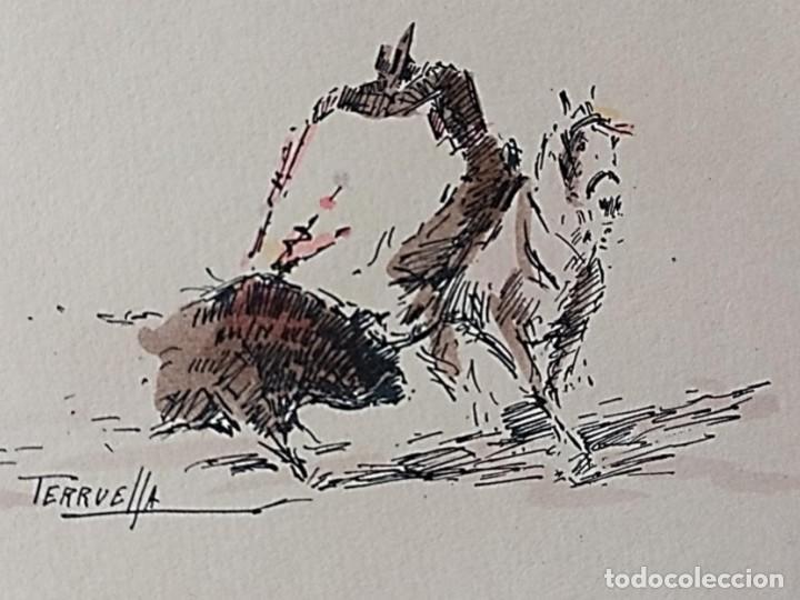 Arte: JOAQUIM TERRUELLA (1891/1957) - ESCENA DE TOROS - Dibujo sobre Papel - Foto 3 - 260694440