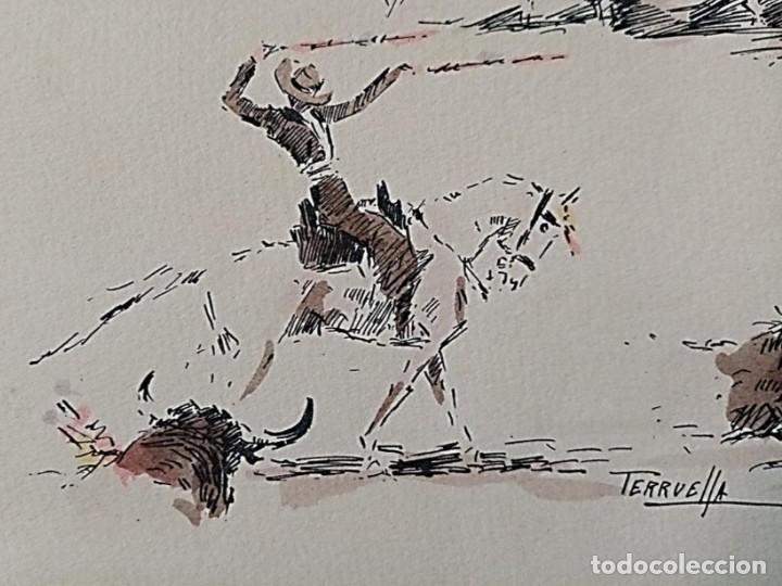 Arte: JOAQUIM TERRUELLA (1891/1957) - ESCENA DE TOROS - Dibujo sobre Papel - Foto 4 - 260694440