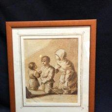 Arte: PLUMILLA PINTADA A MANO CON IMAGEN DE NIÑOS Y MUJER. Lote 260699300