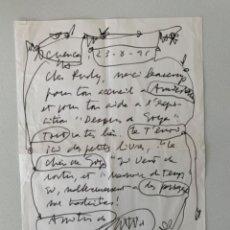 Arte: ANTONIO SAURA . DIBUJO ORIGINAL Y ESCRITO . 1991 . FIRMADO Y FECHADO A ROTULADOR + CATÁLOGO. Lote 261204545