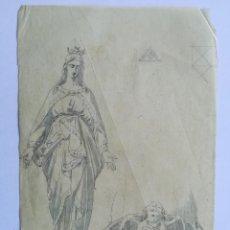 Arte: DIBUJO, VIRGEN DE LA MEDALLA MILAGROSA. LÁPIZ Y AGUADA SOBRE PAPEL DE CALCO. FIN S.XIX. Lote 261829405