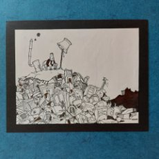 """Arte: ORIGINAL ILUSTRACION"""" SOLO EN EL BASURERO """". Lote 262058930"""