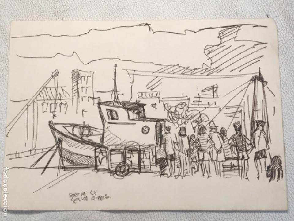 DIBUJO A TINTA , PORT DE LA SELVA GIRONA 1975. DESCONOCEMOS AUTOR. (Arte - Dibujos - Contemporáneos siglo XX)