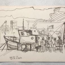 Arte: DIBUJO A TINTA , PORT DE LA SELVA GIRONA 1975. DESCONOCEMOS AUTOR.. Lote 262192610