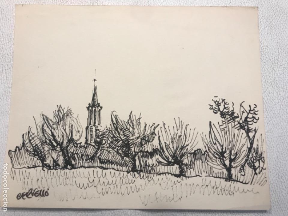 DIBUJO A TINTA FIRMADO CERVELLÓ. (Arte - Dibujos - Contemporáneos siglo XX)