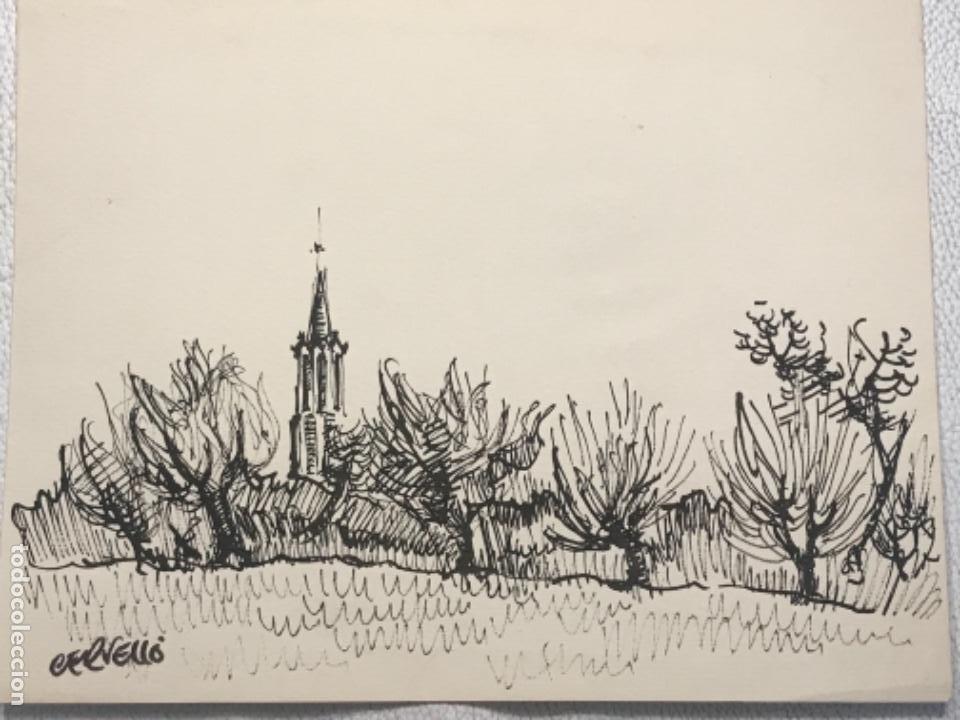 Arte: DIBUJO A TINTA FIRMADO CERVELLÓ. - Foto 2 - 262196655