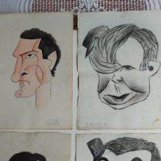 Arte: T-766.- LOTE DE -- 4 -- CARICATURAS , SIN FIRMAR, DE VARIOS PERSONAJES, POSIBLEMENTE DE --- BON ---. Lote 262376335
