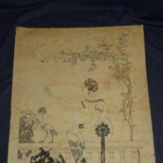 Arte: (M) DIBUJO ORIGINAL ART DECO FIRMADO POR J PERA , 39'5 X 32 CM , VER FOTOGRAFIAS ADICIONALES. Lote 262596365