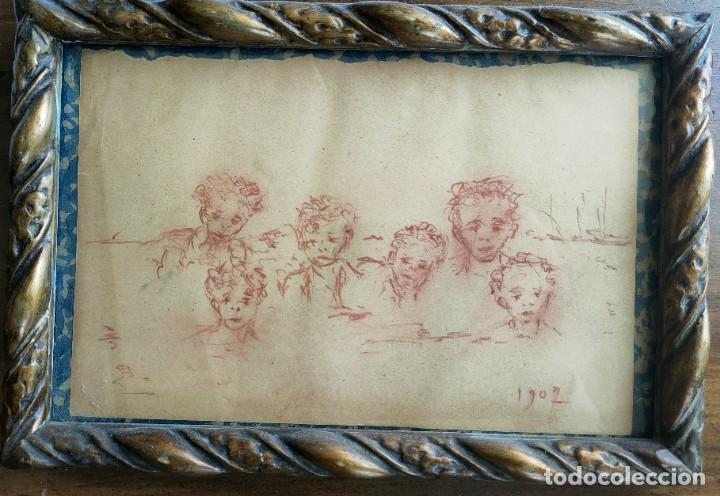 ANTIGUO DIBUJO. BOCETO. ESCUELA VALENCIANA. NIÑOS EN LA PLAYA. AÑO 1907. (Arte - Dibujos - Contemporáneos siglo XX)