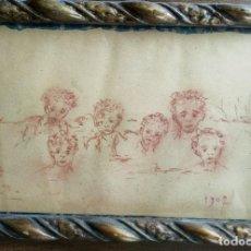 Arte: ANTIGUO DIBUJO. BOCETO. ESCUELA VALENCIANA. NIÑOS EN LA PLAYA. AÑO 1907.. Lote 262906430