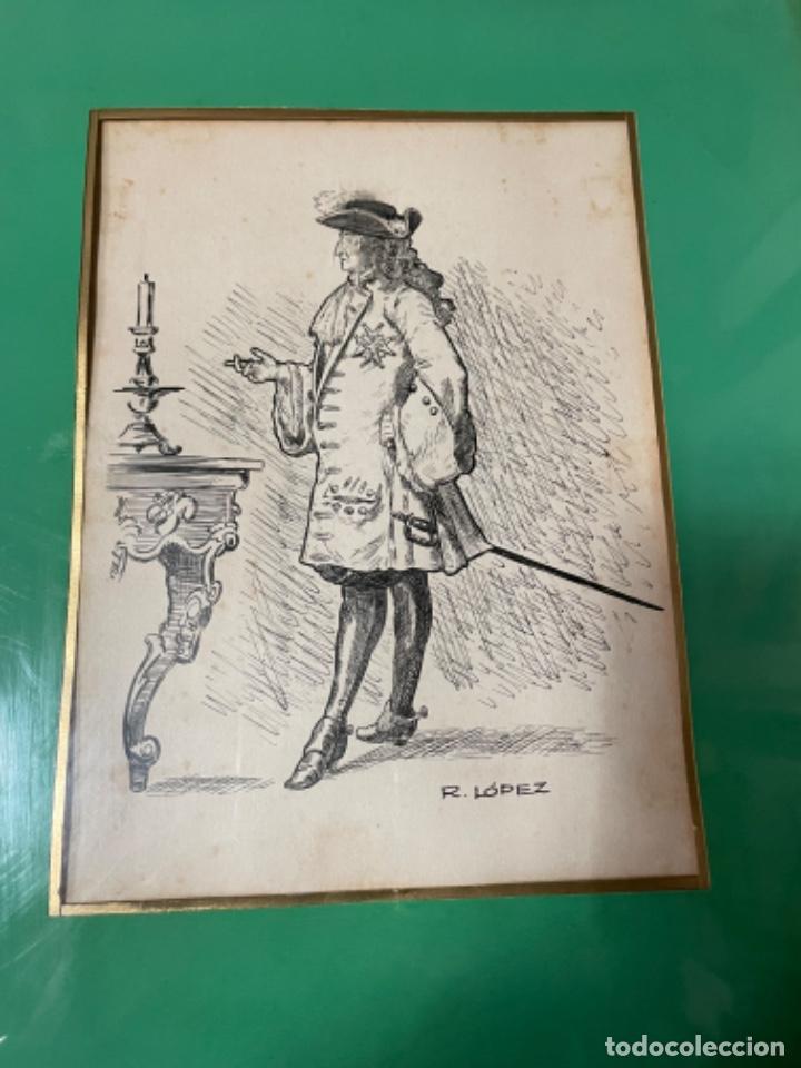 R. LOPEZ -ANTIGUO DIBUJO PERSONAJE A PLUMA FIRMADO R.LOPEZ - DIBUJO 22X16 CM. ENMARCADO 37,5X32 CM. (Arte - Dibujos - Contemporáneos siglo XX)