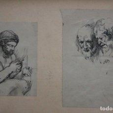 Arte: EXCEPCIONAL PAREJA DE DIBUJOS DEL SIGLO XIX, FIRMADO A.B. ENMARCADO 38X30CM. Lote 263924690