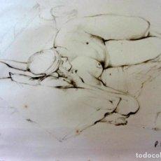 Arte: PENELOPE FULLJAMES (1942) - RETRATO ERÓTICO DE UNA CHICA RECOSTADA Y DESNUDA EN IBIZA. Lote 264048720