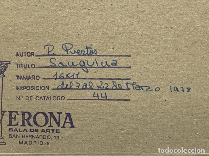 Arte: DIBUJO SANGUINA FIRMA PACO PUERTAS ENMARCADO PINTOR ZAMORA ESCENA CAMPO BURROS 31X35CMS - Foto 8 - 264122770