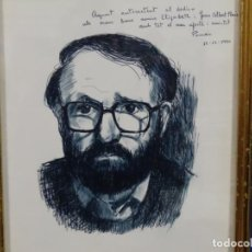 Arte: AUTORRETRATO A LA TINTA DE JOSEP POMES CON DEDICATORIA EN PORTARRETRATO.. Lote 264851799
