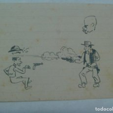 Arte: DIBUJO A PLUMILLA DE CARICATURA DE ESCENA DEL OESTE . AÑOS 40. Lote 264996644