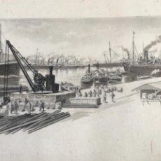 Arte: ALEXANDRE CARDUNETS CAZORLA 1871-1944. DIBUJO A TINTA PUERTO DE BARCELONA. PRINCIPIOS S.XX.. Lote 265115929