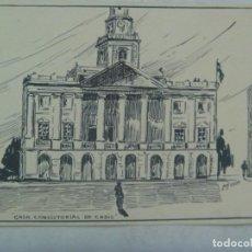 Arte: PEQUEÑO DIBUJO A TINTA CHINA DE LA CASA CONSISTORIAL DE CADIZ. DE LUIS DE OYA. AÑOS 40. Lote 265220579