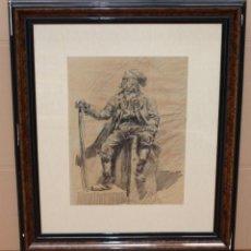 Arte: FRANCESC GIMENO I ARASA (1858-1927) - PERSONAJE CON BARRETINA - EXCELENTE DIBUJO.. Lote 265491239