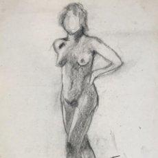 Arte: DIBUJO A CARBÓN DE JORDI SERRA DESNUDO FEMENINO.. Lote 265506509