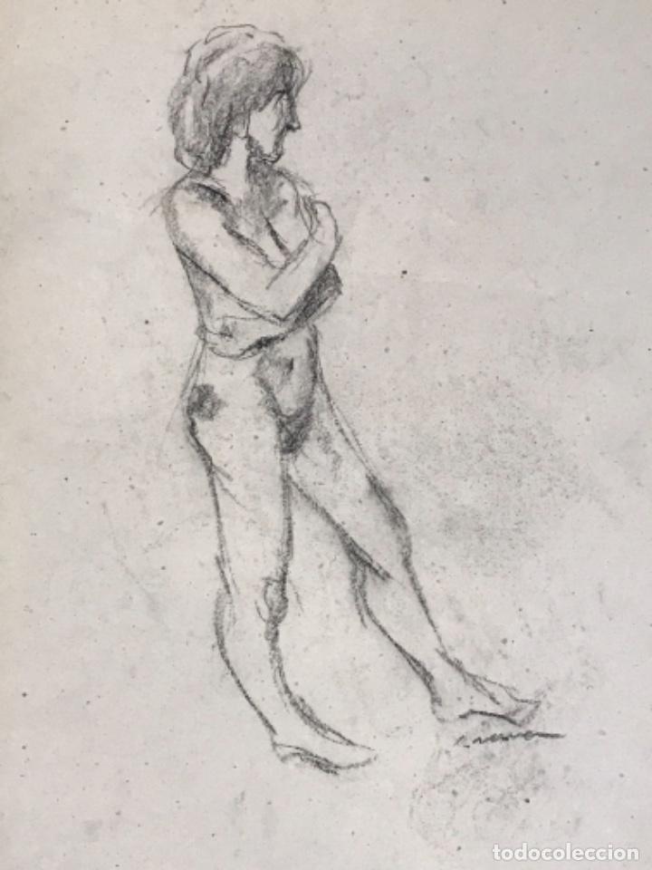 DIBUJO A DOBLE CARA A CARBÓN DE JORDI SERRA DESNUDO FEMENINO. (Arte - Dibujos - Contemporáneos siglo XX)