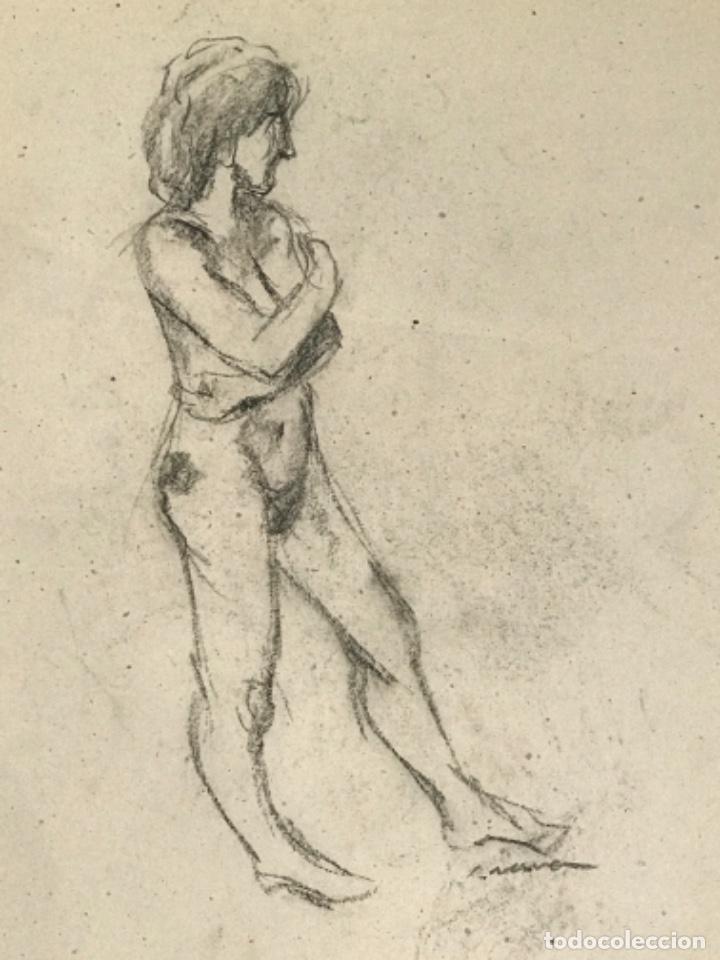 Arte: DIBUJO A DOBLE CARA A CARBÓN DE JORDI SERRA DESNUDO FEMENINO. - Foto 3 - 265507239