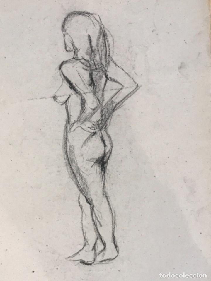 Arte: DIBUJO A DOBLE CARA A CARBÓN DE JORDI SERRA DESNUDO FEMENINO. - Foto 4 - 265507239
