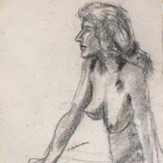 Arte: DIBUJO A CARBÓN DE JORDI SERRA DESNUDO FEMENINO.. Lote 265512509
