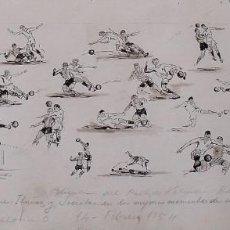 Arte: FEDERICO TORMO MONZÓ. DIBUJO A TINTA. PARTIDO DE FÚTBOL VALENCIA 1 - F. C. BARCELONA 0. 14-02-1954.. Lote 265965173