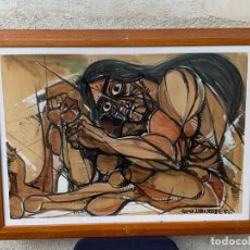 Arte: DIBUJO TINTA GOUACHE ACUARELA INDIO SENTADO FIRMA ROMEA LABOURDETTE 76 58X77CMS. Lote 266753648