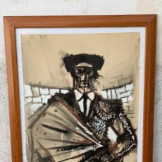 Arte: DIBUJO TORERO CAPOTE PLAZA TORO TAUROMAQUIA FIRMA ACUARELA TINTA GOUACHE ROMEA LABOURDETTE 76 77X57C. Lote 266753878