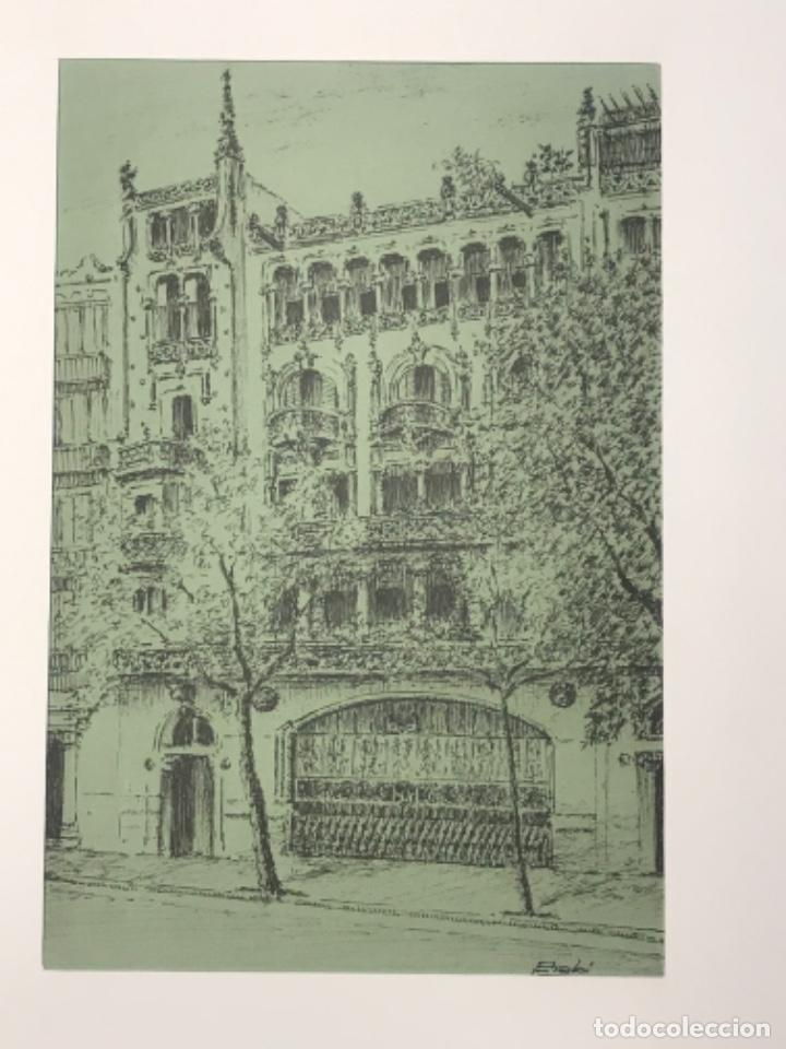 DIBUJO A TINTA EDIFICIO DE BARCELONA. FIRMADO. (Arte - Dibujos - Contemporáneos siglo XX)