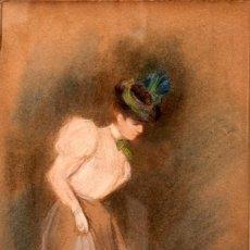 Arte: ANONIMO - FIRMADO PV - PASTEL - C. 1900. Lote 267750154