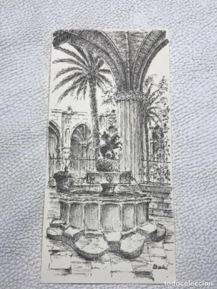 DIBUJO A TINTA, INTERIOR DE LA CATEDRAL DE BARCELONA. FIRMADO. (Arte - Dibujos - Contemporáneos siglo XX)