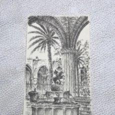Arte: DIBUJO A TINTA, INTERIOR DE LA CATEDRAL DE BARCELONA. FIRMADO.. Lote 267774949