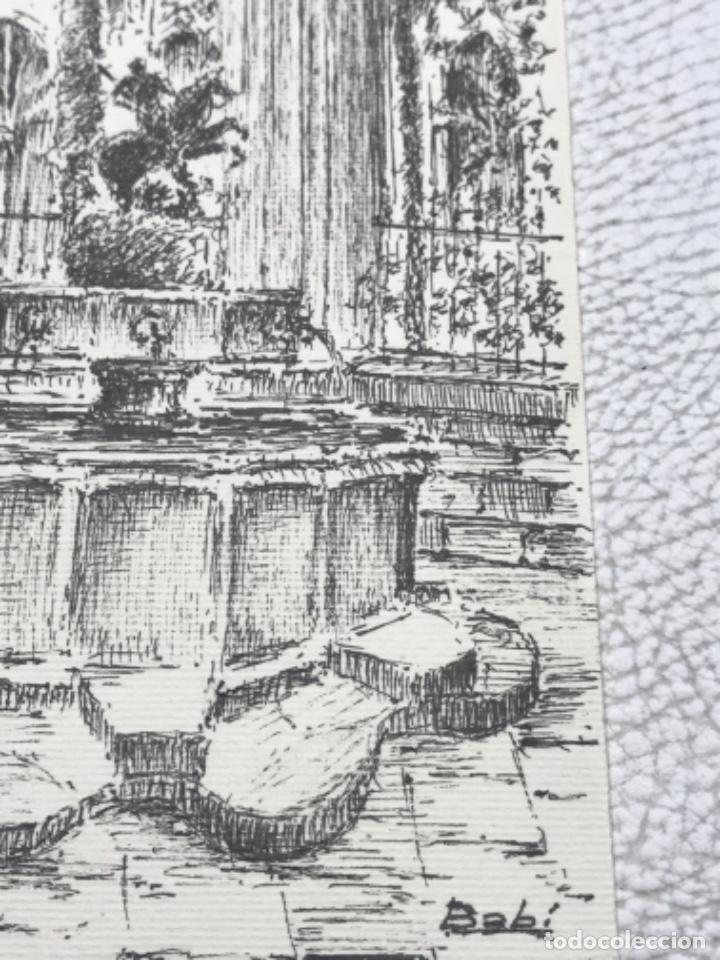 Arte: DIBUJO A TINTA, INTERIOR DE LA CATEDRAL DE BARCELONA. FIRMADO. - Foto 4 - 267774949