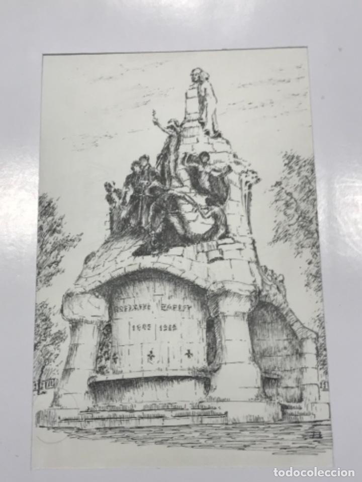DIBUJO A TINTA MONUNTO BARCELONA. FIRMADO. (Arte - Dibujos - Contemporáneos siglo XX)