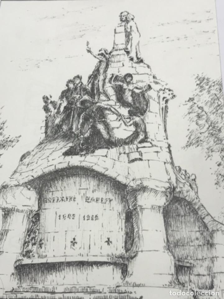 Arte: DIBUJO A TINTA MONUNTO BARCELONA. FIRMADO. - Foto 3 - 267775819