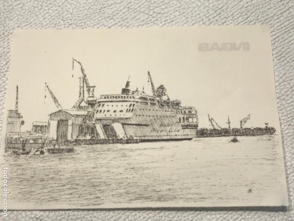 DIBUJO A TINTA. PUERTO DE BARCELONA. FIRMADO. (Arte - Dibujos - Contemporáneos siglo XX)